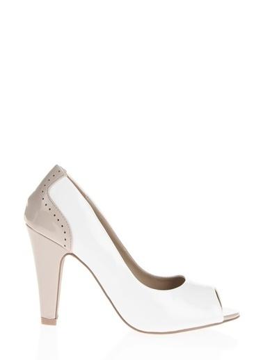 Ves Ves Deri Beyaz Topuklu Ayakkabı Beyaz